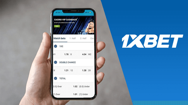 1xBet mobile app screen and logo