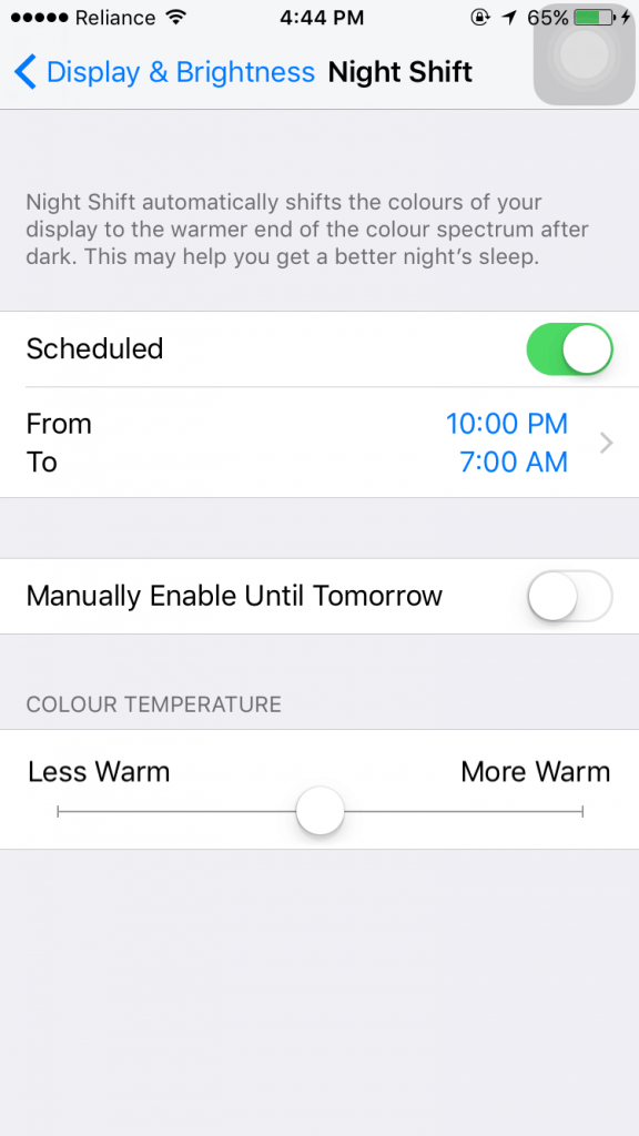 Night shift scheduled on iPhone 6