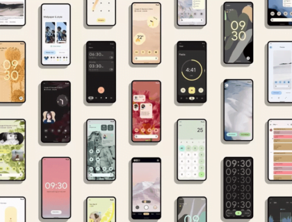 Pixel phones showing many Android 12 screens