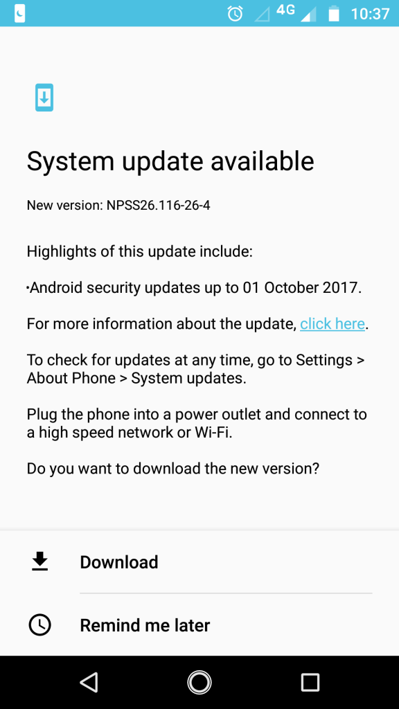 Latest Android security update for Moto G5s Plus