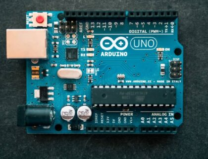 Arduino circuit board placed on a surface