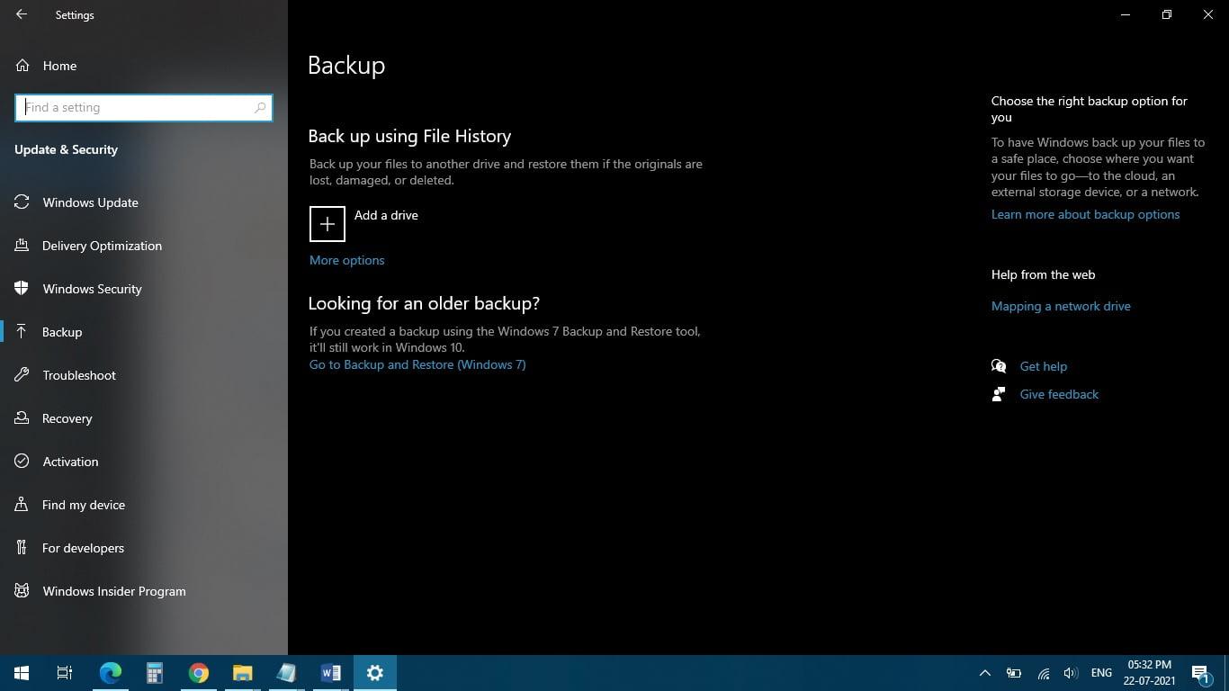 Backup screen in Windows 10