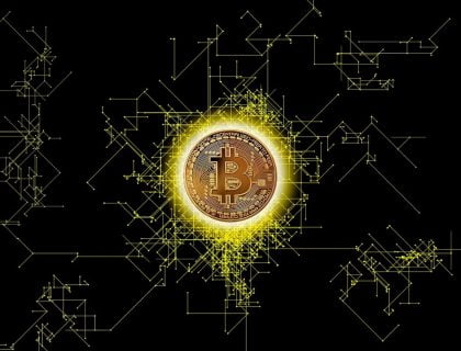 Bitcoin placed in the center of the Blockchain