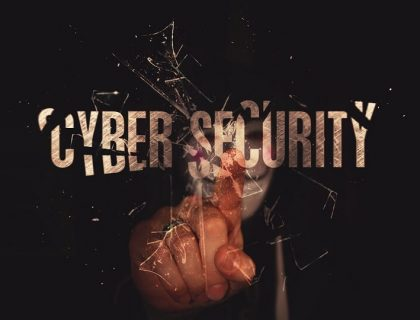 Words 'Cyber Security' written in a dark background