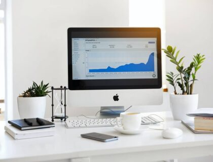 Analytics data on Mac Computer's screen