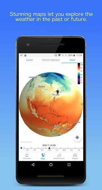 Screenshot of Dark Sky Weather app