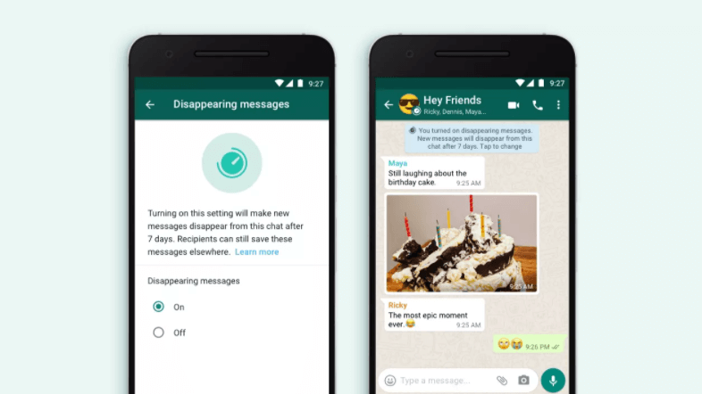 Enabling Disappearing Messages on WhatsApp chat