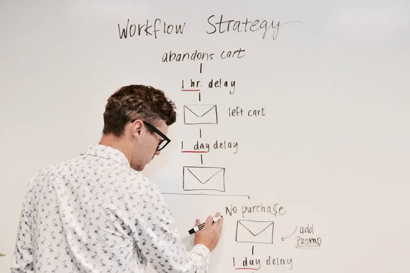 A man explaining email strategy on a whiteboard