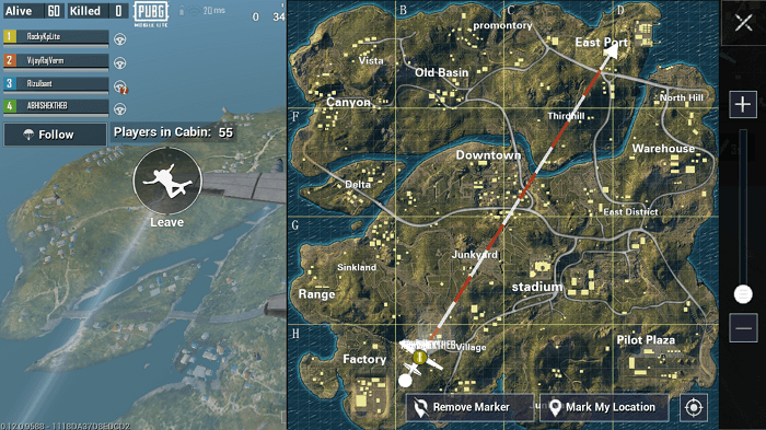 Detailed map of Erangel in PUBG Mobile Lite