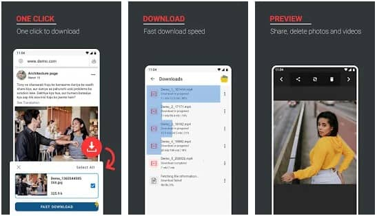 Screenshots of FastSave Android app