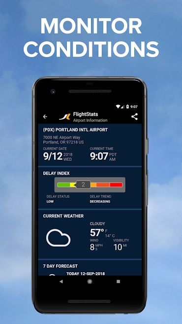 Screenshot of FlightStats app