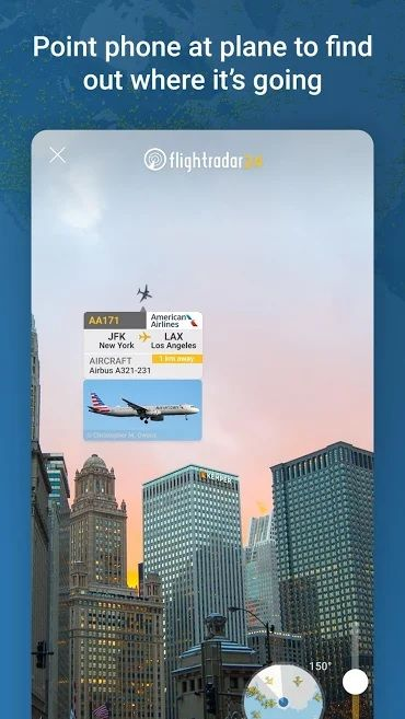 Screenshot of Flightradar24 app