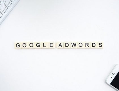 Google Adwords Sign on a white background