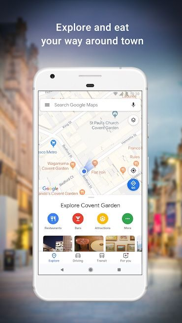 Screenshot of Google Maps app