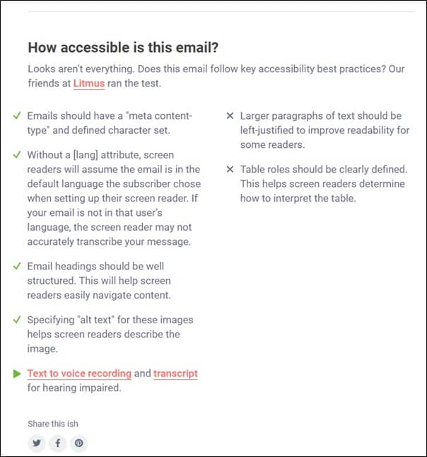 Accessible email suggestions from Litmus