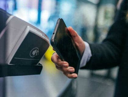 A person making digital payment using NFC