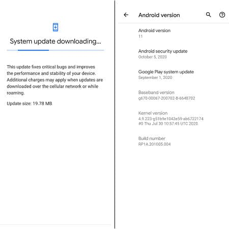 Screenshot of the latest Pixel update and version details