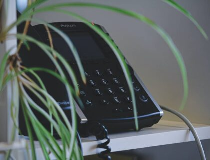 A VoIP phone placed near a plant