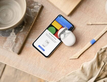 Pixel Buds A and a Pixel smartphone