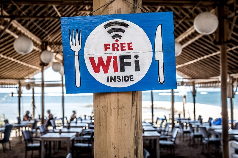 Free WiFi banner in a restaurant
