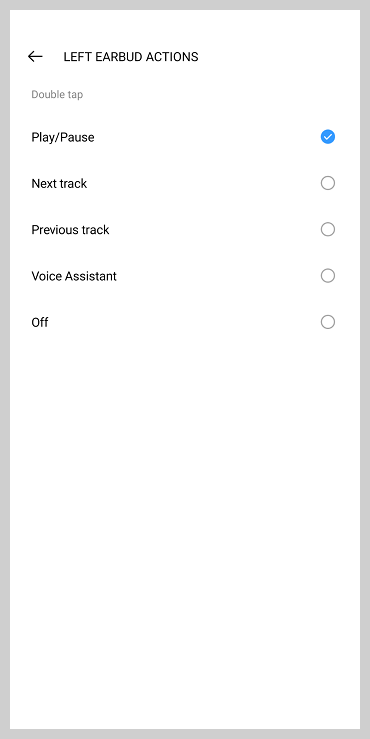 Screenshot of realme link app showing earbud actions