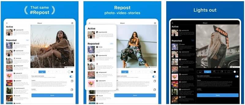 Screenshots of iOS app - Repost for Instagram #Repost