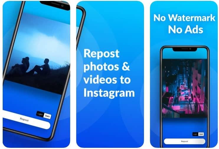 Repost+ for Instagram iOS app screenshots