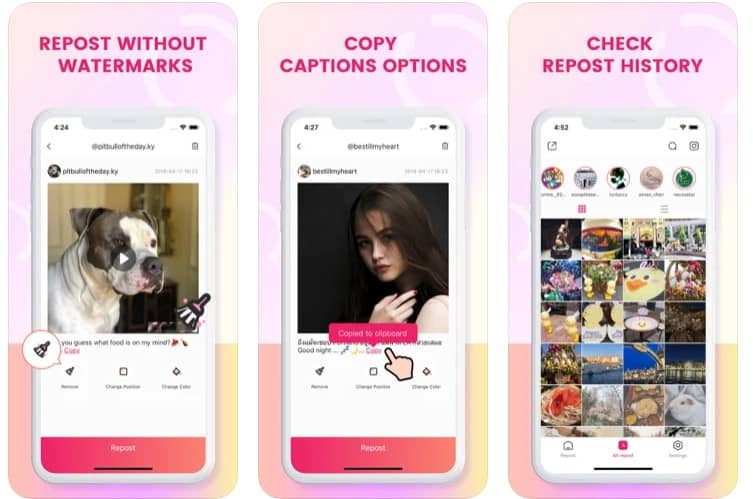 Screenshots of iOS app - Repost For Instagram