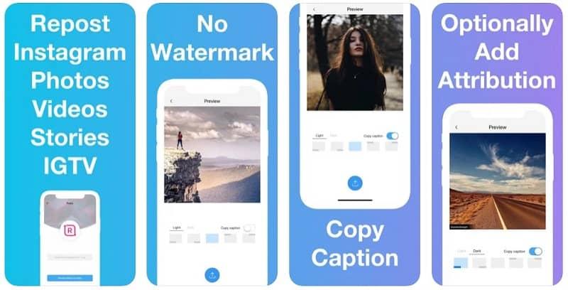 Screenshots of iOS app - Reposter for Instagram
