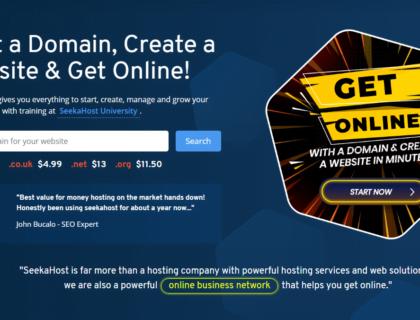 Screenshot of SeekaHost website's homepage