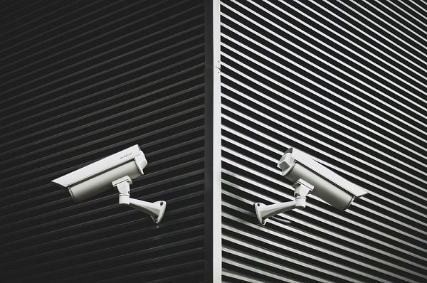 Two security cameras placed for video surveillance