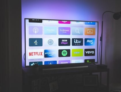 Smart television showing apps on the screen