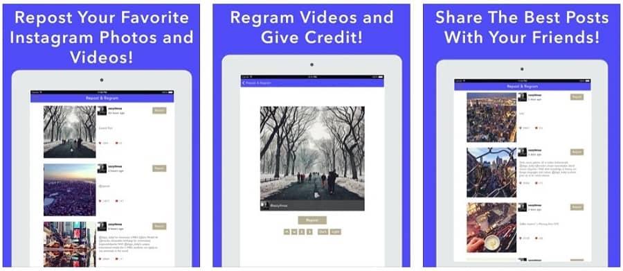 Screenshots of Story Reposter for Instagram iOS app