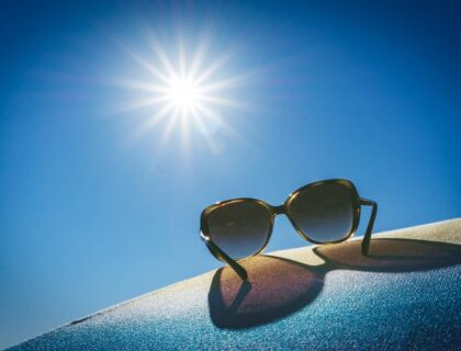 Sun during the summer and relaxing sunglasses