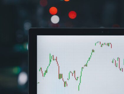 A trading chart showing ups and down on the screen