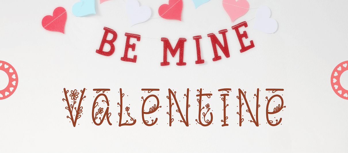 'Be Mine Valentine' card created using an online Monogram Maker