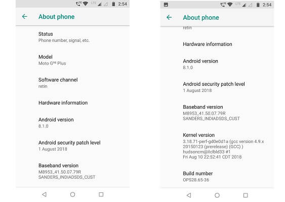 Moto G5s Plus updated to latest version