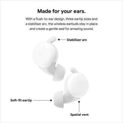 Pixel Buds A highlighting eartip, spatial vent and stabiliser arc